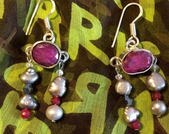 Rubyzantine, byzantine inspired sterling silver earrings with authentic rubies and baroque pearls.