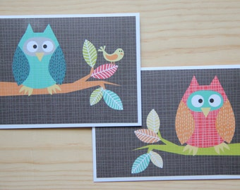 Owl Note Card Set.  Blank Owl Cards.  Owl Thank You Cards.  Owl Stationery Set.  Woodland Animal Card Set.  Bird Card Set.  Blank Note Cards
