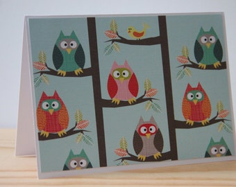 18 Owl Note Cards. Owl Card Set.  Owl Thank You Cards. Owl Stationery Gift.  Woodland Animal Card Set.  Autumn Tree Owl Cards. Fall Card Set