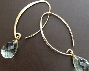 Solid 14K Yellow Gold Green Amethyst Earrings
