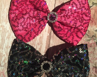 Hot pink or black sequin bling hair bow