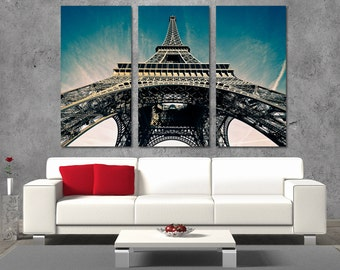 3 Panel  Canvas Split, City of Love,Sunrise in Paris, Eiffel Tower, Photo Print on Canvas,Triptych  Canvas,Interior design,Room Decoration,