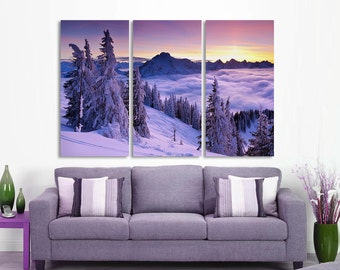 3 Panel Split (Triptych) Canvas Print. Winter forest snow photography for living room decor & interior design.