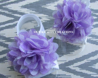 Lavender Sandal, Baby Girl Sandals, Infant Sandals, Flower Sandals, Chevron Print
