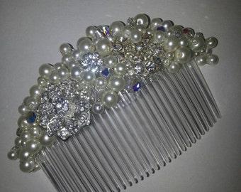 Hand beaded hair comb