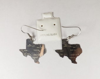 Sterling Silver Earrings - State of Texas - Pierced Earrings - Estate Jewelry - Collectible Jewelry - Fashion accessories