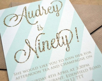 Birthday Party Invitation - Personalised Mint & Gold Invitation including Kraft Envelope - Any age 16, 18, 21, 30, 40, 50, 60, 70, 80, 90