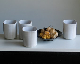 Ceramic Cup. Straight Cup. Cup, mug pottery. Rectangular Cup. White enamel. Turned stoneware handmade by Mary Tual.
