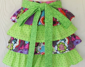 Cute Floral Half Apron, Ruffles, Graphic Flower Motif, Purple, Green, Pink, Waist Apron, KitschNStyle