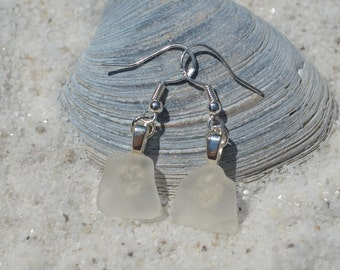 Frosted Beach Glass French Hook Earrings