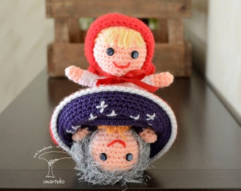 Amigurumi. Red Riding Hood and Grandmather. Reversible Doll. Crochet, doll, toy, friend