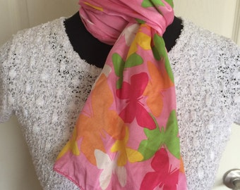 Vintage Signed Echo Butterfly Print Pink Oblong Silk Scarf - FREE SHIPPING  EVERYWHERE