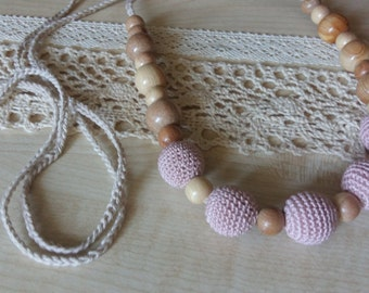 Breastfeeding.Nursing necklace.Teething necklace.Organic cotton.Wood.Juniper.Natural jewelry.