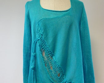 Casual cyan linen sweater, XXL size. Only one sample.