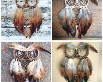 Custom Natural Material Owl Dreamcatcher