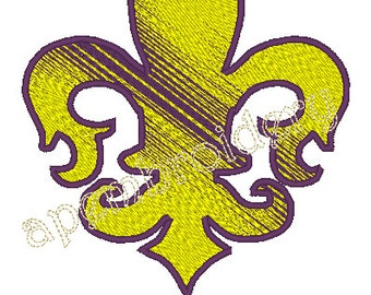 Fleur De Lis Embroidery Design with Louisiana