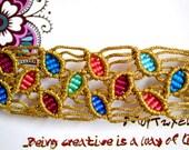 Golden Macrame Spring Summer Multicored Leaf Bracelet Design, High Quality Handcrafted , Cuff Micromacrame adjustable bracelet