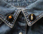 Candle and Matchstick Collar Pins // Hand Embroidery by İrem Yazıcı