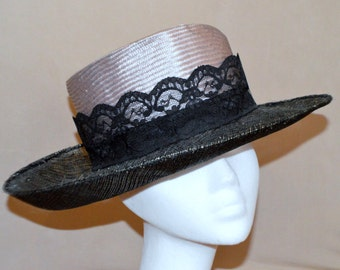 Light grey parisisal and Black with lurex sinamay brim hat with lace trim