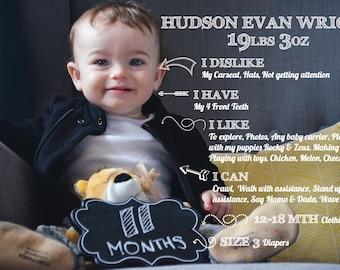 Baby Monthly Update Template - Child Milestones DIY Digital Template