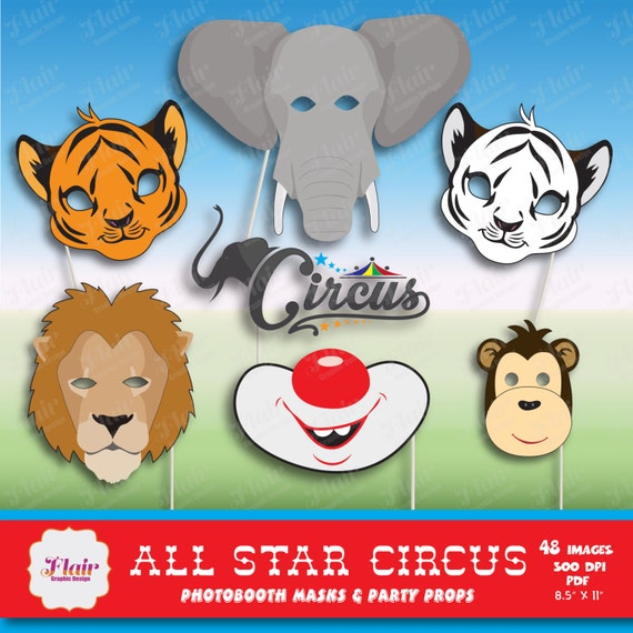 50% OFF CIRCUS ANIMALS Photo Booth Masks And Props