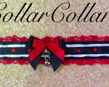 Valentines Queen of Hearts Sissy  Submissive Bondage Proof Ruffled Lace Choker Ribbon Kitten Play Collar