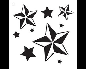 Nautical Stars - Art Stencil - Select Size - STCL1113 - by StudioR12