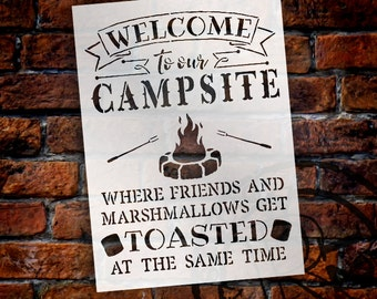 Welcome To Our Campsite- Sign Stencil - Select Size - STCL1507 - by StudioR12