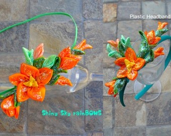 1 Elena of Avalor Inspired flowers, Elena Orange Flowers, Elena Birthday, Princess Elena, Elena Flower Crown, Elena Headband, Elena Hair Bow