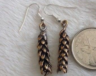 Bronze Earrings, Araucaria Earrings, Forest Earrings, Leaf Bronze Earrings, Nature Earrings, One of a Kind, Leaf Earrings, Chile Tree Ear
