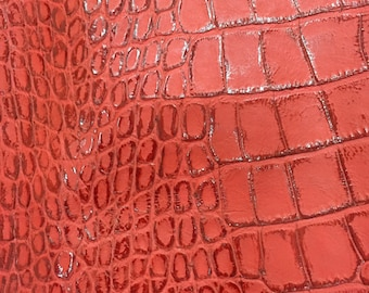 Printed Crocodile Leather Piece / Orange red
