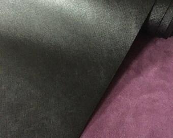 Italian Saffiano Leather Pieces - Black Colour