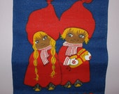 Sweet 60s retro Christmas vintage wall hanging Tapestry with Santa boy and girl. Made in Sweden Scandinavian