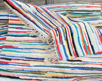 Beautiful vintage hand woven Rag Rug Carpet with happy colors. Made in Sweden Scandinavian.