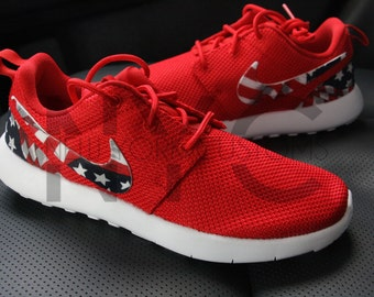 mjkfa American Flag One Nation Nike Roshe Run White V5 by NYCustoms