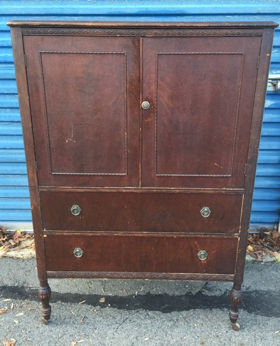 Vintage tall bureau chest of drawers armoire - Armoire bureau but ...