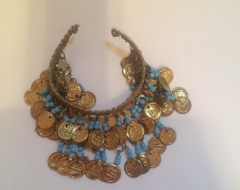Middle Eastern Gold Tone & Faux Turquoise Arm Cuff