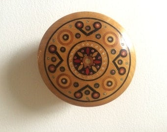 Round Ukranian Wooden Box
