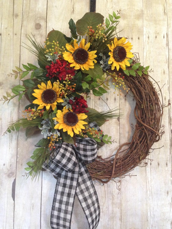 Summer door wreath front door wreath sunflower by spratsdesign