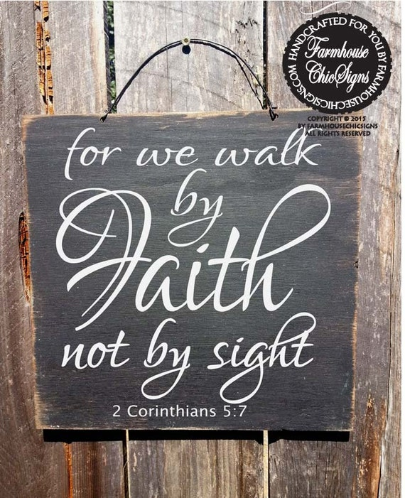 2 Corinthians Sign, Walk in Faith, Christian Decor, Bible Verse Sign, 13