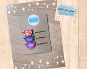 Handmade accessories - Set of 3 bobby pin hair clips with wooden birds - stocking fillers, gifts for girls, hair accessories, handmade gift