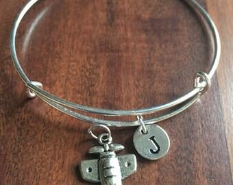 Airplane initial bracelet, airplane jewelry, aviation bracelet, pilot bracelet, gift for pilot, small plane jewelry