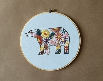 Embroidery Hoop Art - Happy Bear with Flowers Embroidery Art in 8-inch Hoop - Florals - Spring - Summer