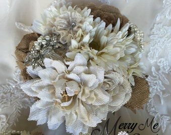 Burlap Brooch Bouquet - Burlap Bouquet - Rustic Bouquet - Shabby Chic Bouquet - Burlap Bouquet - Burlap Bridal Bouquet - Burlap Rose Bouquet