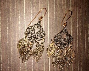 Copper Filigree Chandelier Earrings