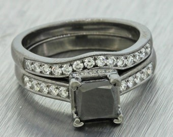 14k Black Gold 1.24ct Princess Cut Diamond Wedding Band Engagement Ring Set