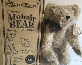 """ON SALE! Boyds Bears Fitzgerald D. Bearington 12"""" Mohair Bear in Box #590040-03, Vintage Boyds Bears"""