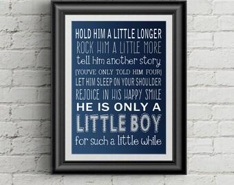 Hold Him A Little Longer Print Baby Shower Gift For Mom Baby Boy Nursery Print New Mom Gift Little Boys Room Decor