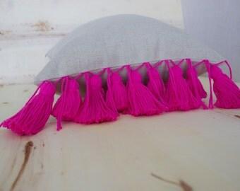 Pink Tassel Linen Pillow