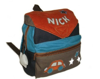 Kids backpack car star kindergarten bag of jeans, canvas and corduroy with stars us Autoapplikation, handmade, personalized
